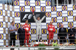 The podium: Michael Schumacher, Mika Hakkinen and Rubens Barrichello