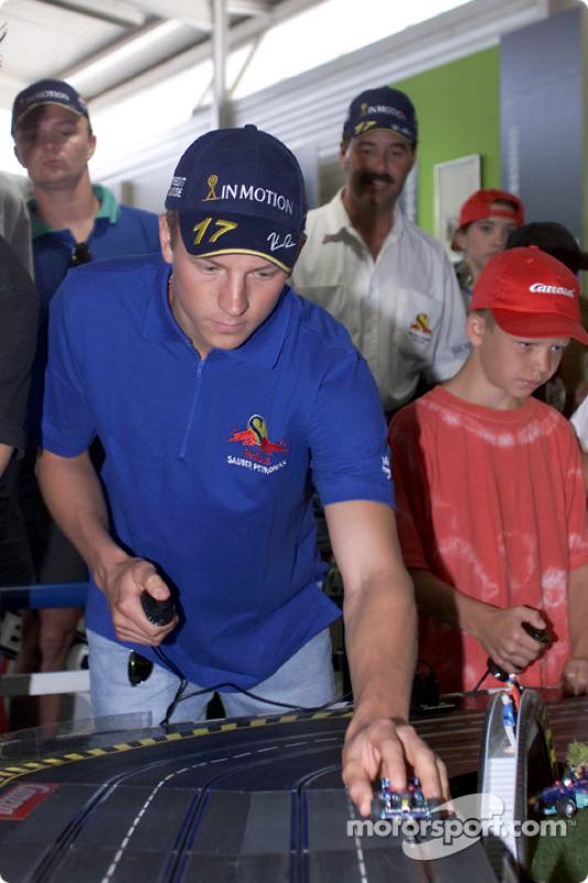 Inauguration of the new CARRERA race track at the Motorsport Museum Hockenheim: Kimi Raikkonen