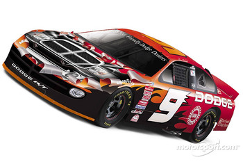 Sneak preview of the new paint scheme featured on Bill Elliott's and Casey Atwood's Dodge Dealers Intrepid R/T