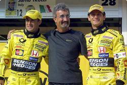Jean Alesi, Eddie Jordan and Jarno Trulli