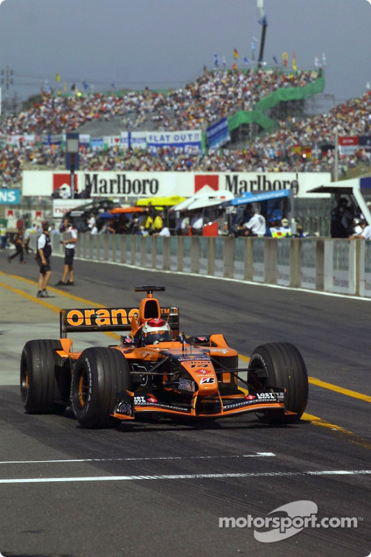 Jos Verstappen at pitlane exit