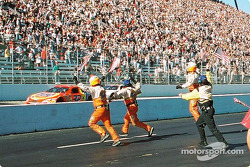 Ricky Craven taking the checkered flag