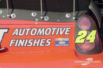 Detail of rear spoiler in superspeedway configuration