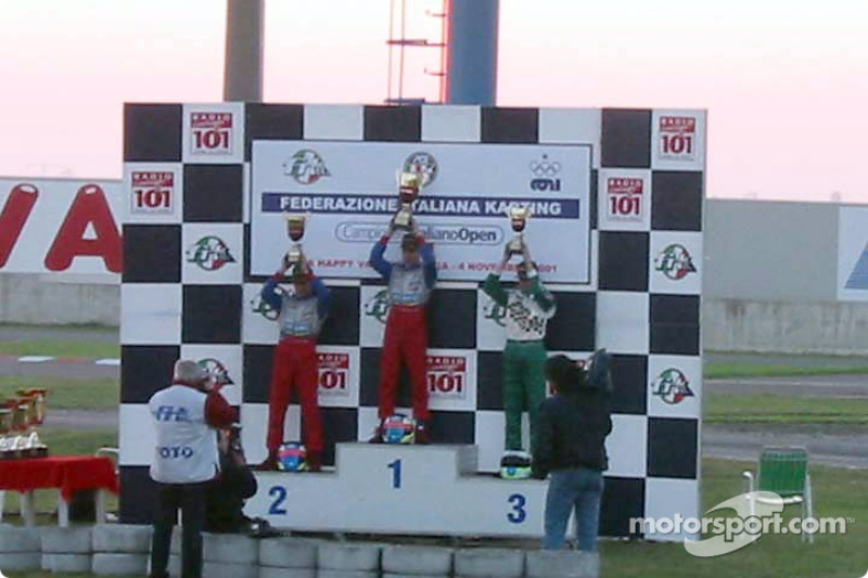 InterContinental A 100cc: podium with winner Niki Sebastiani (Top Kart-Parilla), second Valentino Sebastiani (Top Kart-Parilla) and third Stefano Albertini  (Tony Kart-Vortex)