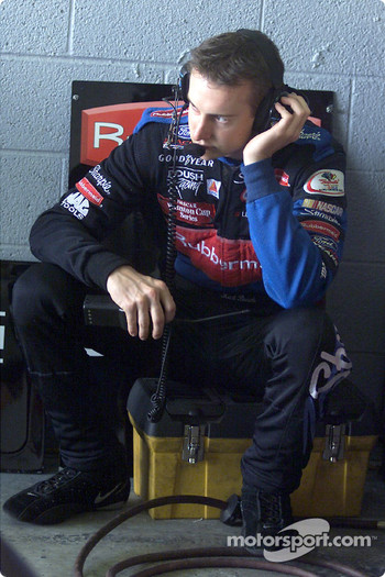 Rookie Kurt Busch monitors the team radio