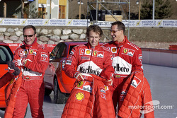 Rubens Barrichello, Luca Badoer and Michael Schumacher getting ready for a day of fun