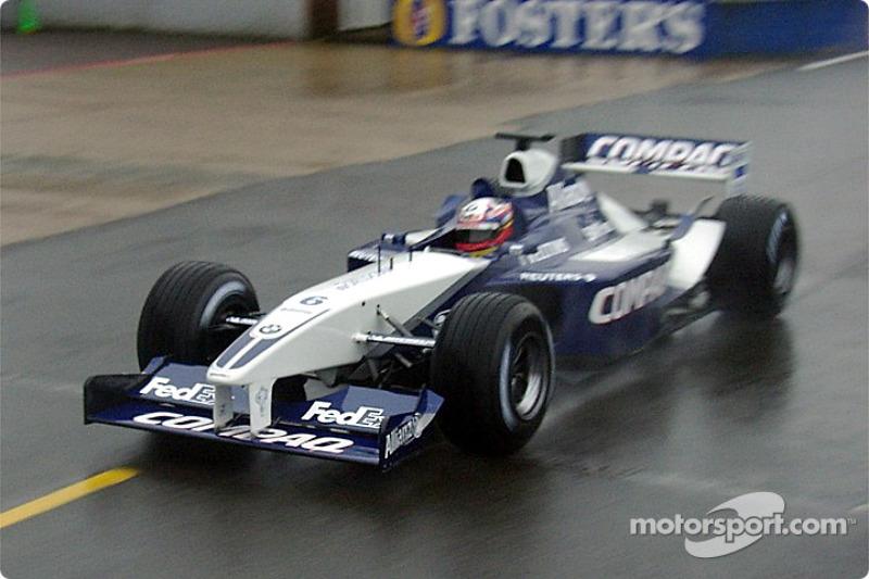 Juan Pablo Montoya testing the new 2002 WilliamsF1 BMW FW24