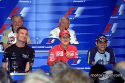 Thursday press conference: David Coulthard, Michael Schumacher and Juan Pablo Montoya at the front, David Richards and Ove Andersson at the back