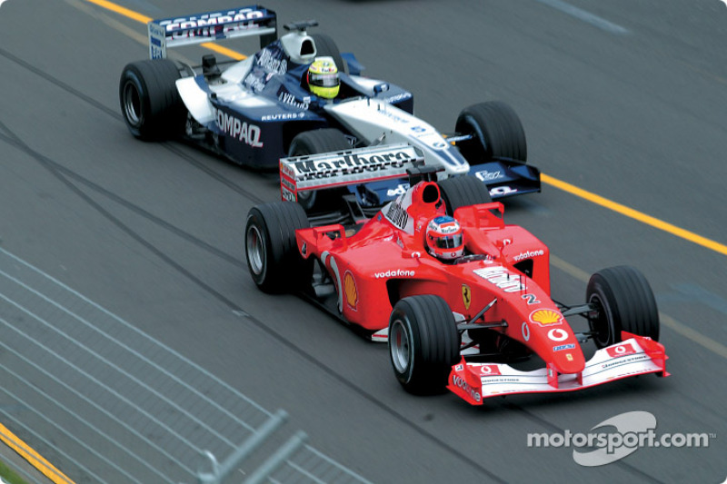 The start: Rubens Barrichello and Ralf Schumacher seconds before the accident