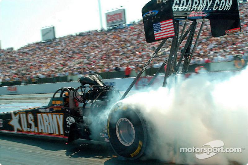 Tony Schumacher burning out