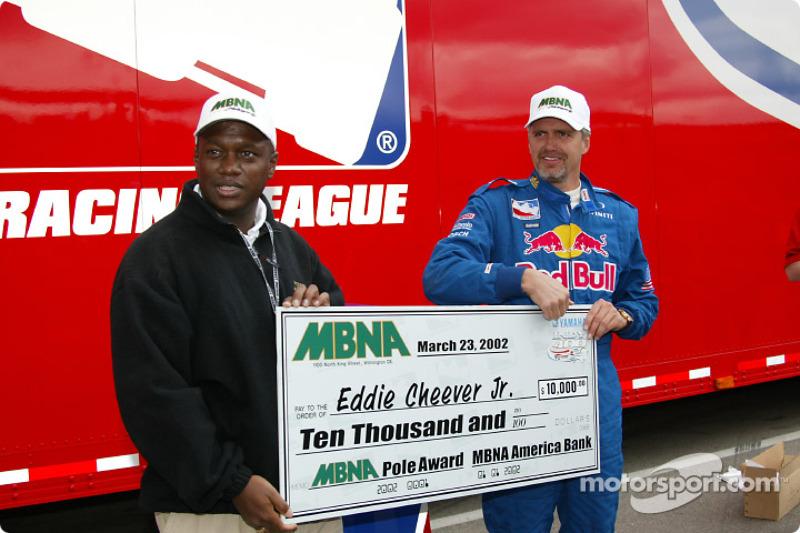 MBNA Pole Award winner Eddie Cheever