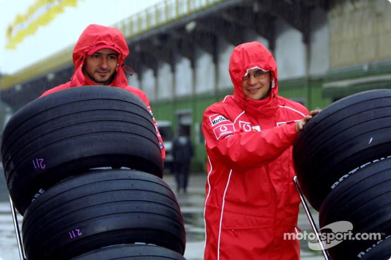 Team Ferrari crew members