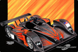 Prototype drawing of the KnightHawk Racing MG Lola 675 LMP; graphics depict the team's theme of a soaring nighthawk by designer Dean Thompson