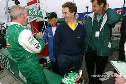 Paul Tracy being congratulated by Mr. Asaka of Honda