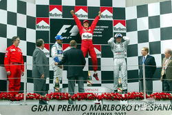 Podium: race winner Michael Schumacher, Juan Pablo Montoya and David Coulthard