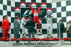 Podium: race winner Michael Schumacher, Juan Pablo Montoya and David Coulthard
