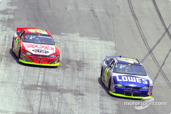 Jimmie Johnson passes Jeff Gordon to take the lead and doesn't look back
