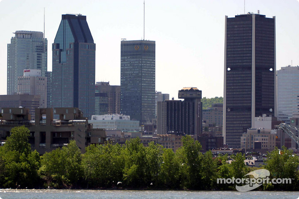Downtown Montreal, as seen from the flip side of curve 9
