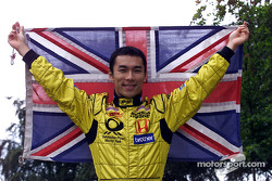 Takuma Sato with the Union Jack