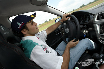 Felipe Massa driving his function car in Magny-Cours