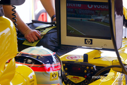 Takuma Sato watching Giancarlo Fisichella's crash on TV