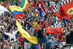 Fans during the podium ceremony