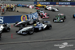 The start: Ralf Schumacher and David Coulthard at Source hairpin