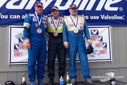 The podium: race winner Ben Beasley with Jacek Mucha and James Stinehelfer
