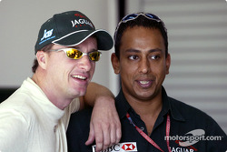 Eddie Irvine and Jaguar PR officer Nav Sidhu