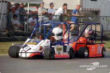 #0-Trevor Bayne leads #01-Bobby Anthony in Team Simpson Racing Briggs Junior Sportsman Champ