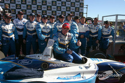 Race winner Paul Tracy celebrates with his team
