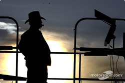 Owner Jack Roush keeps track of his teams during late practice in Las Vegas