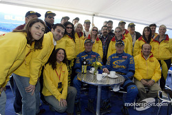 Tommi Makinen and Kai Lindstrom have tea with friends from Pirelli