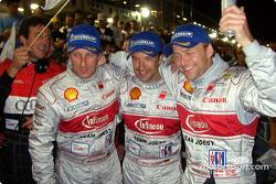 Race winners Frank Biela, Marco Werner and Phillip Peter celebrate