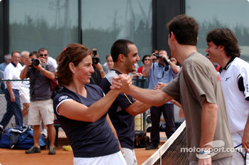 Charity tennis tournament at the Sanchez-Casal Academy in Barcelona: Arantxa Sanchez, Juan Pablo Montoya and Mark Webber