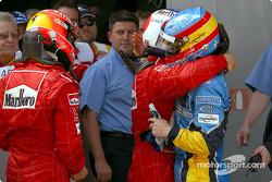 Race winner Michael Schumacher with Rubens Barrichello and Fernando Alonso