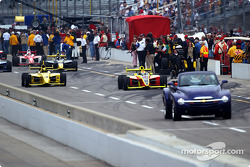 The grid heads onto the track
