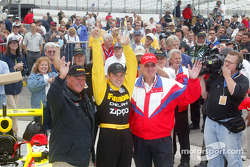 A.J. Foyt, race winner Ed Carpenter and Al Speyer