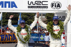 The podium: Markko Martin and codriver Michael Park celebrate victory
