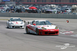#83 Rennwerks Porsche GT3 RS leads the #25 Rosser Racing Porsche GT3 RS
