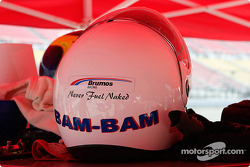 Brumos Racing fueler's helmet - Never Fuel Naked