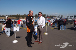 V8 Supercar Chairman Mr Tony Cochrane in deep discussing