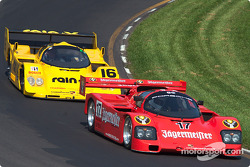 #17 1985 Porsche 962, owned by Bill Hawe leads #16 1991 Porsche 962C, owned by Juan Gonzalez