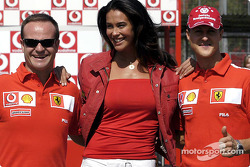 Vodafone scooter cup: Rubens Barrichello, Megan Gale and Michael Schumacher