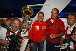 BMW Motorsport Director Gerhard Berger retirement party: Michael Schumacher and Gerhard Berger with musicians