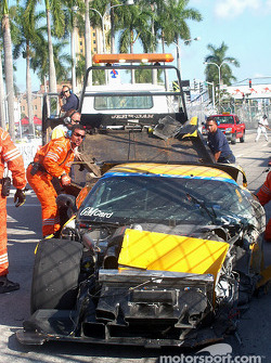 Wreck of the #4 Corvette Racing Chevrolet Corvette C5-R of Kelly Collins after the crash