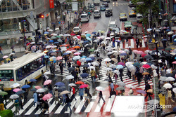 Shibuya street crossing in the rain