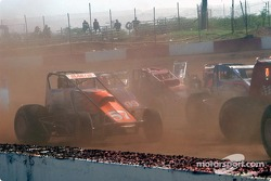 Mike Martin amid the duststorm from the green flag