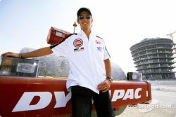 Jenson Button on the Bahrain International Circuit construction site
