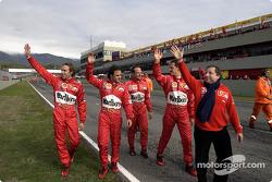 Luca Badoer, Felipe Massa, Rubens Barrichello, Michael Schumacher and Jean Todt